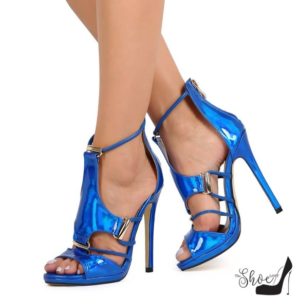 The Shoe Loft Shoes - Isabella Electric Royal Blu Open Toe Strappy Heels